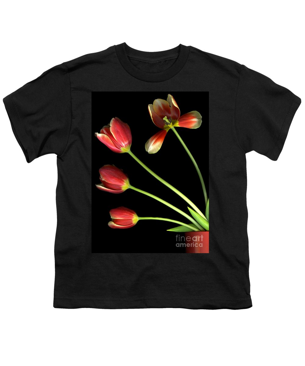 Scanography Youth T-Shirt featuring the photograph Pot Of Tulips by Christian Slanec