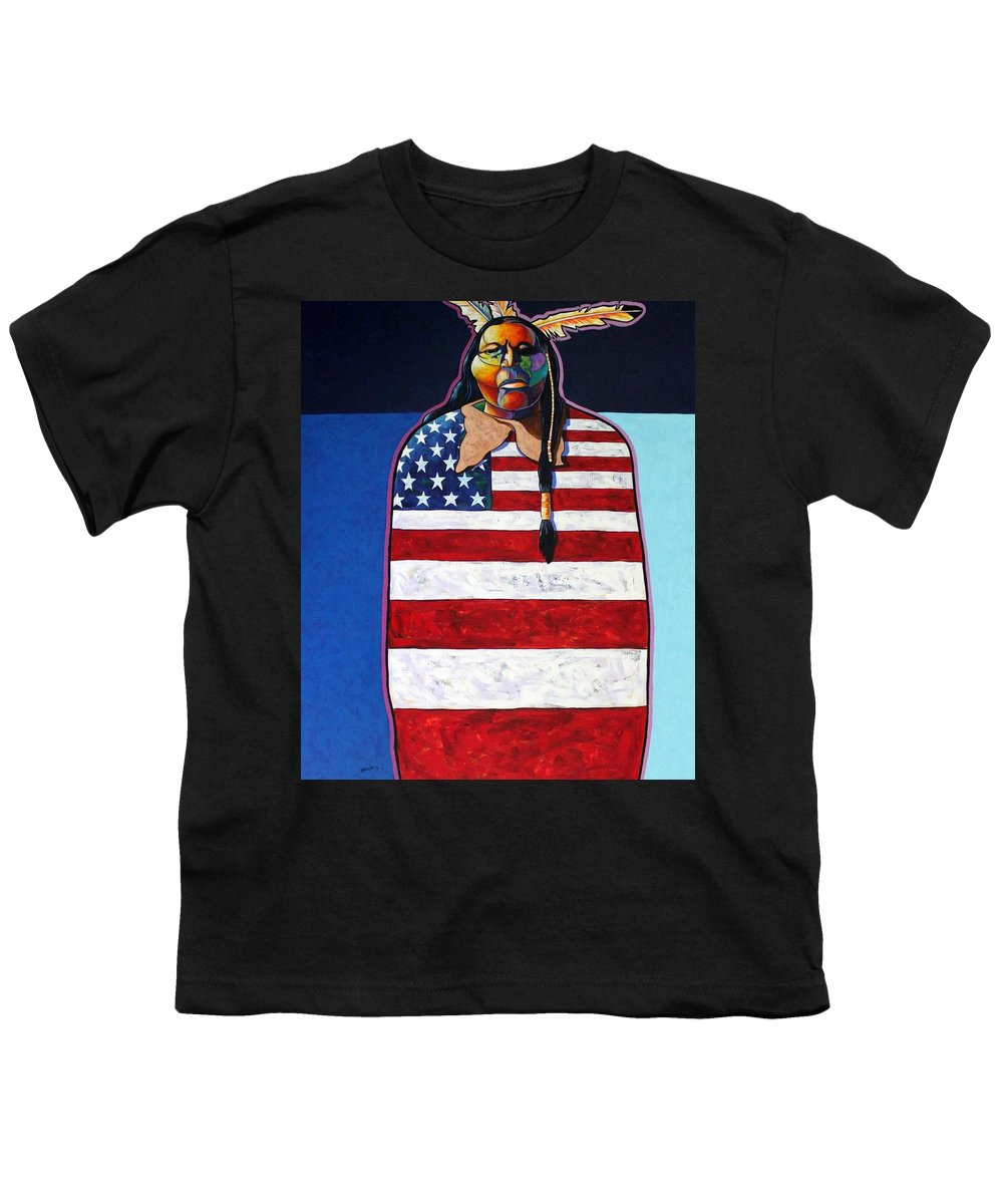 Native American Wrapped In Us Flag Youth T-Shirt featuring the painting Poverty Still Cracks The Whip by Joe Triano