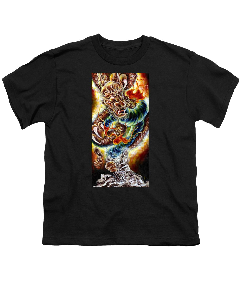 Caving Youth T-Shirt featuring the painting Power Of Spirit by Hiroko Sakai