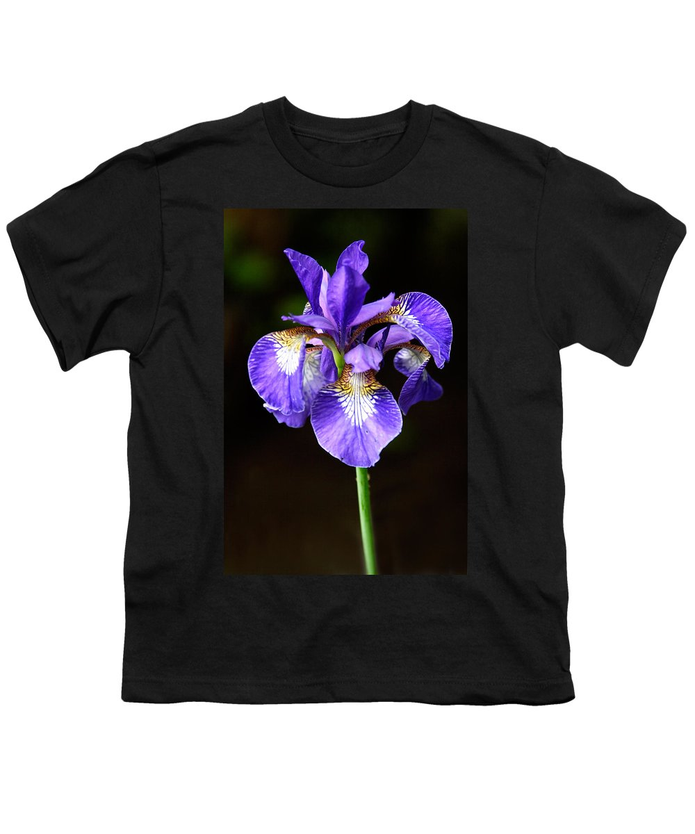 3scape Youth T-Shirt featuring the photograph Purple Iris by Adam Romanowicz