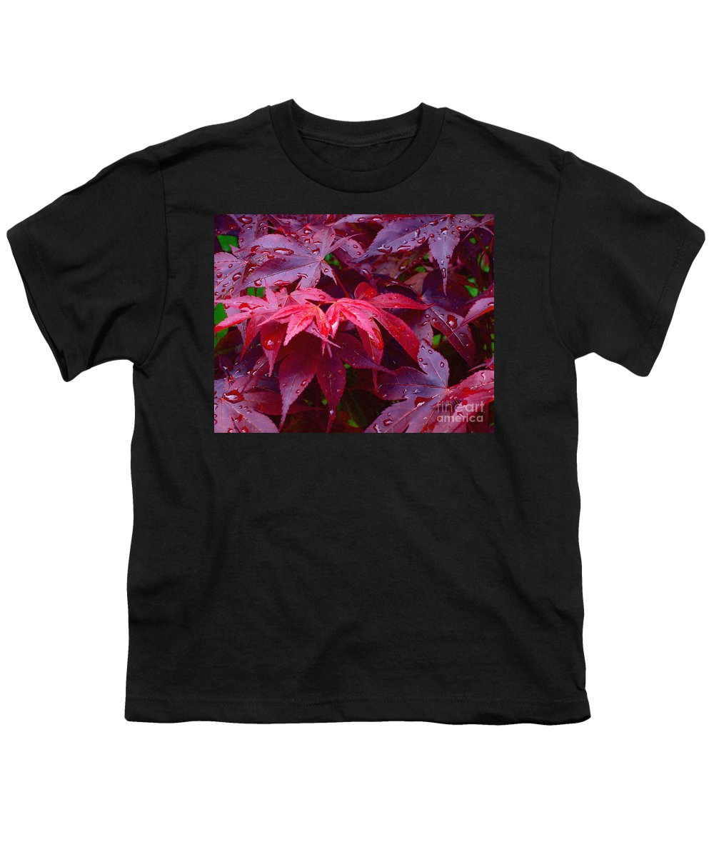 Rain Youth T-Shirt featuring the photograph Red Maple After Rain by Ann Horn