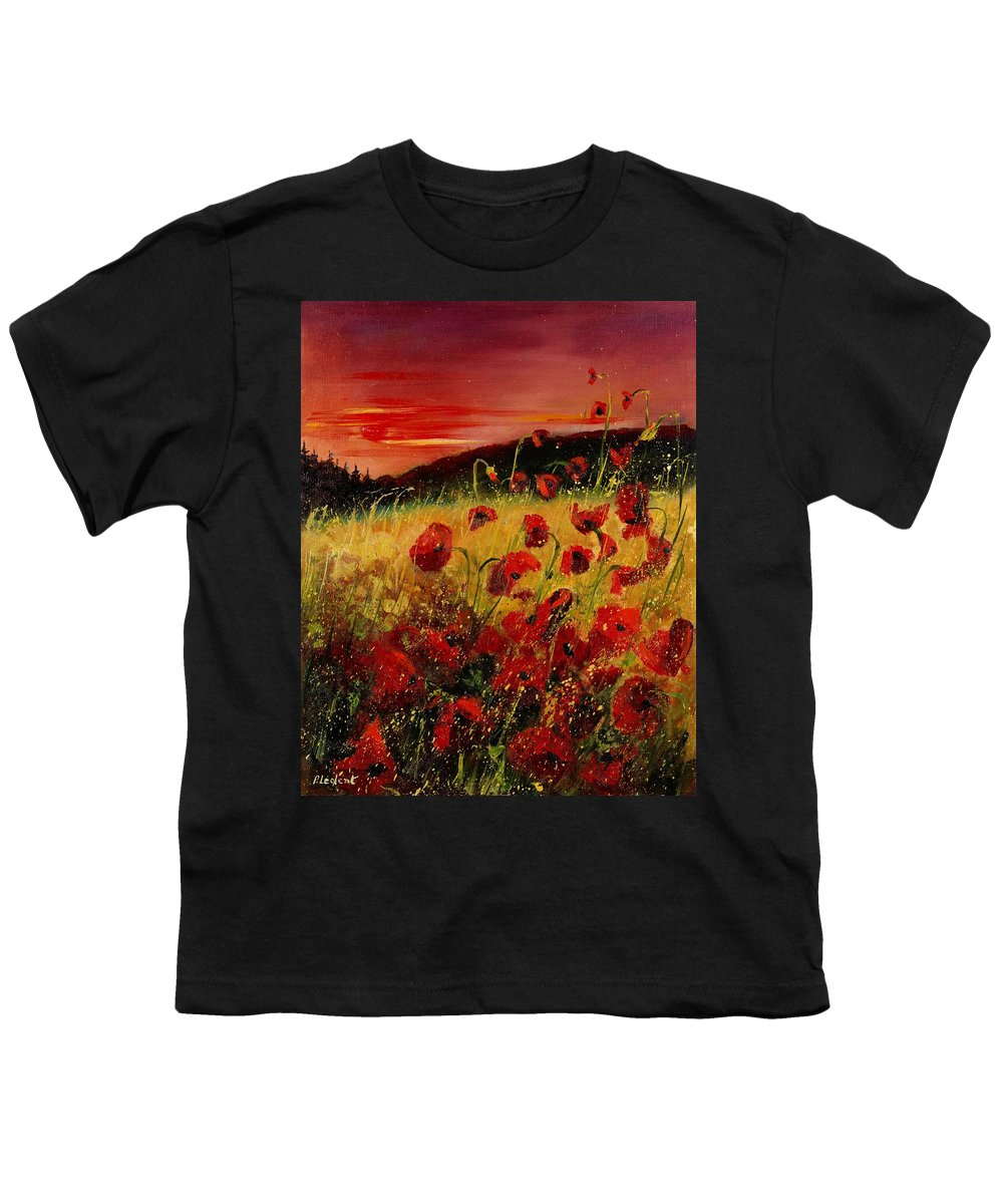 Poppies Youth T-Shirt featuring the painting Red Poppies And Sunset by Pol Ledent