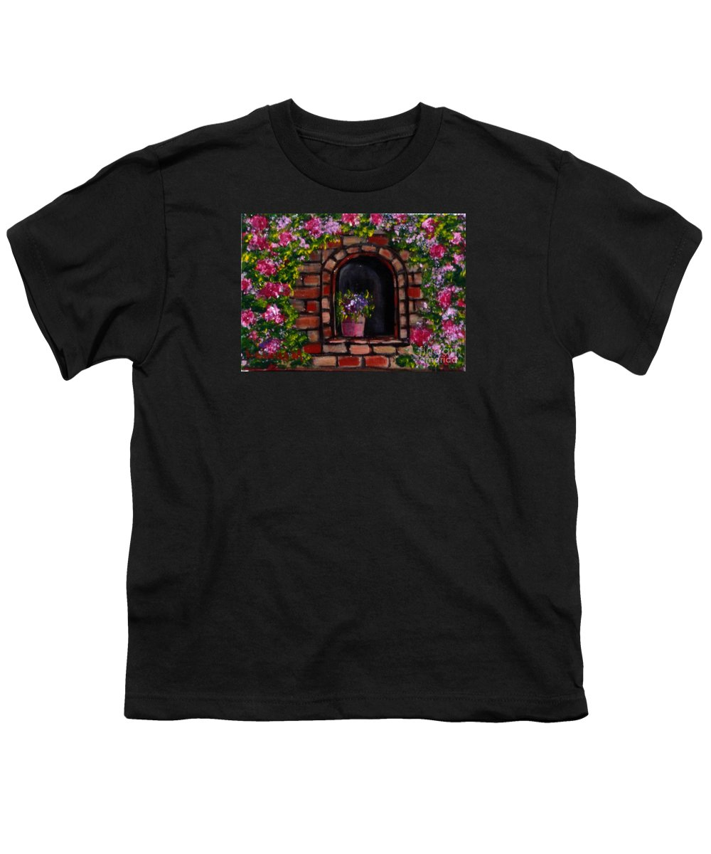 Rose Youth T-Shirt featuring the painting Rosary by Laurie Morgan