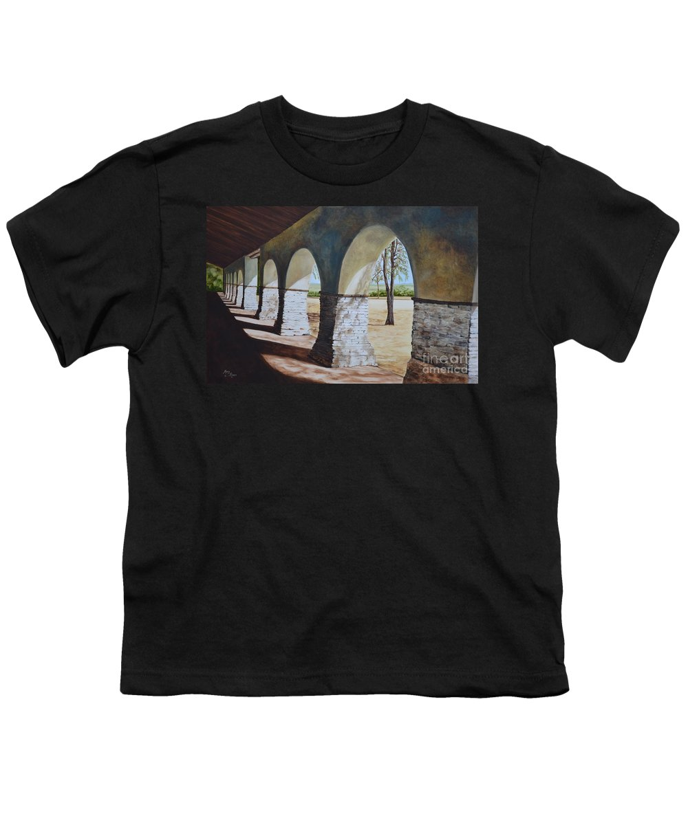 California Landmark Youth T-Shirt featuring the painting San Juan Bautista Mission by Mary Rogers