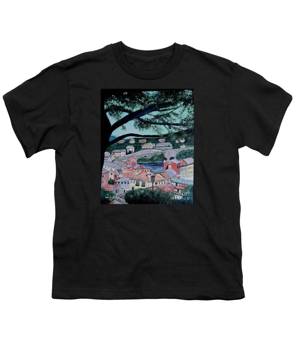 Italy Youth T-Shirt featuring the painting Sestri Levante by Laurie Morgan