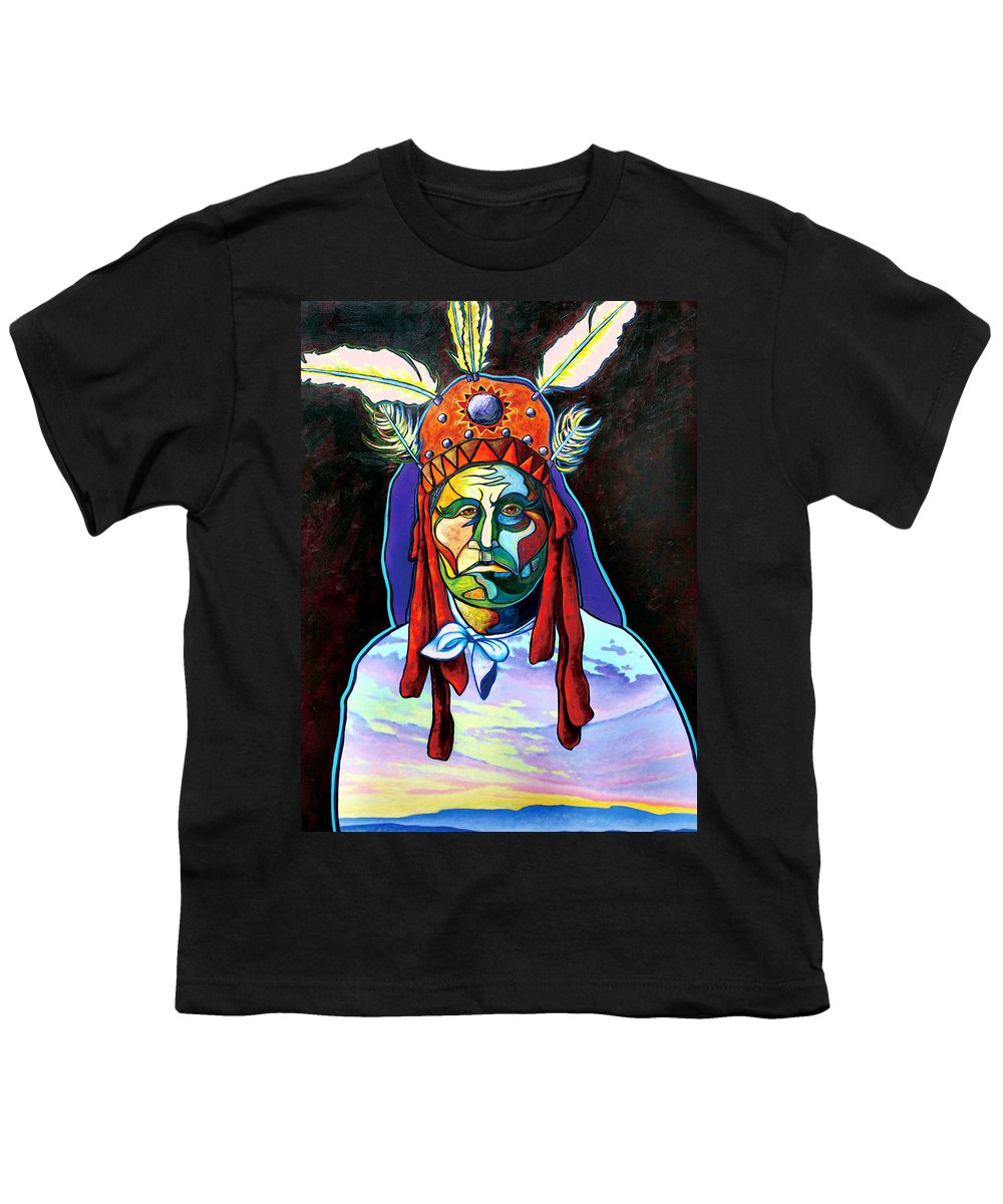 American Indian Youth T-Shirt featuring the painting Shamans Power by Joe Triano