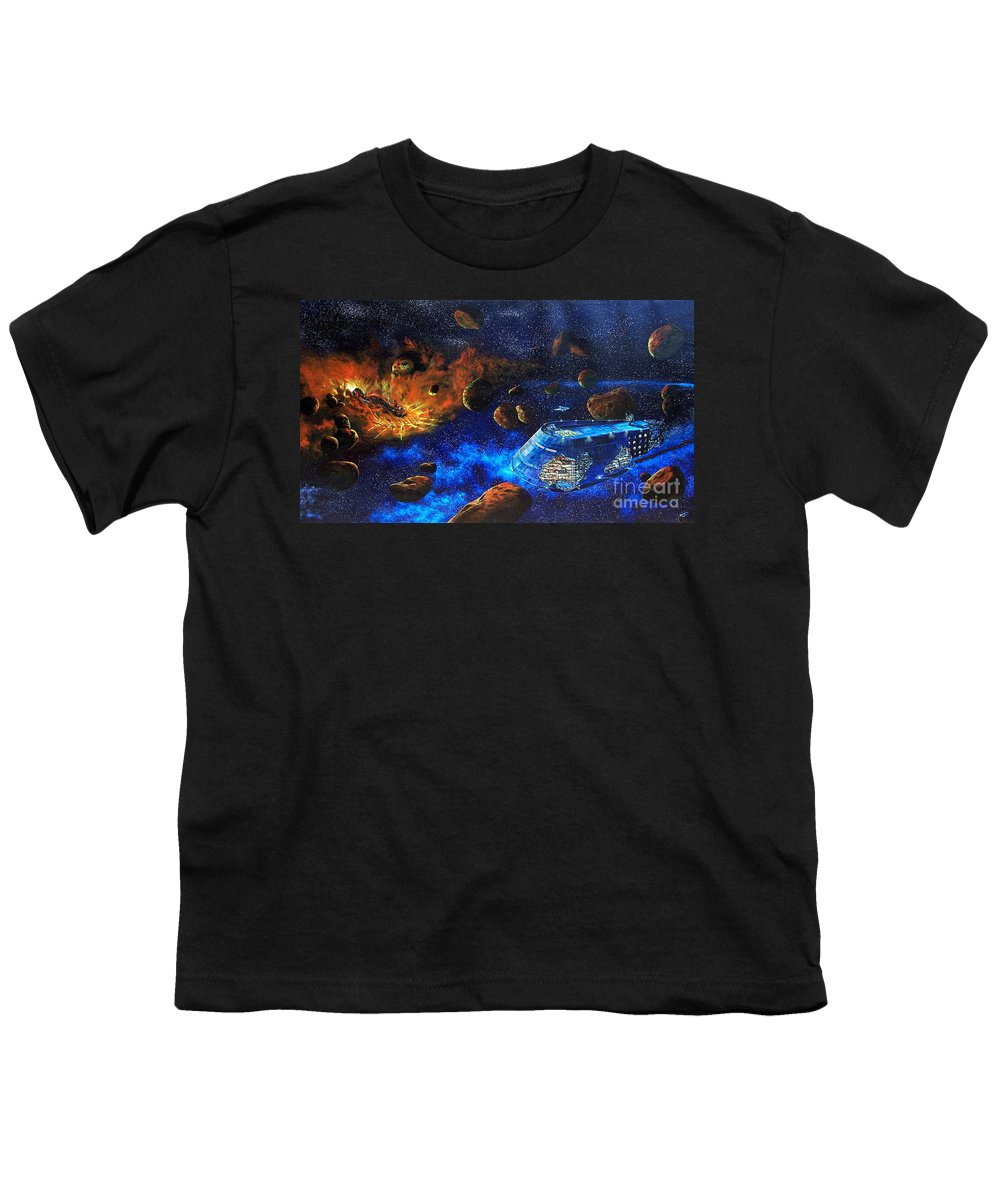 Future Youth T-Shirt featuring the painting Spaceship Titanic by Murphy Elliott