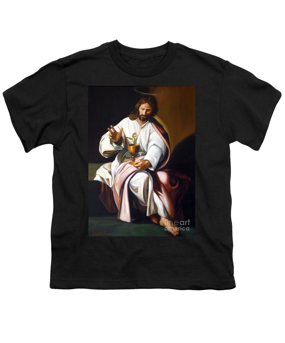 Classic Art Youth T-Shirt featuring the painting St John The Evangelist by Silvana Abel