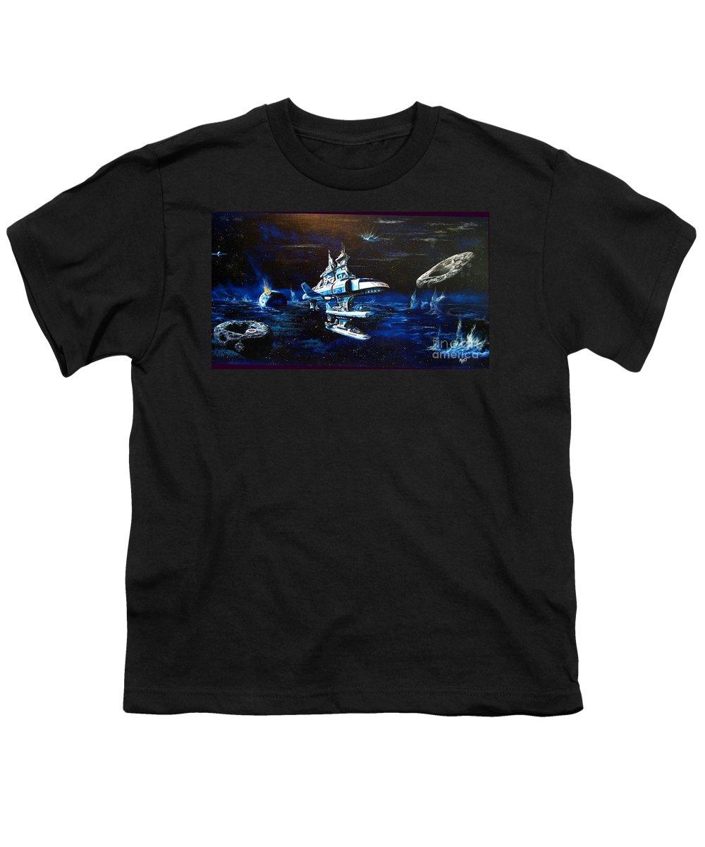 Alien Youth T-Shirt featuring the painting Stellar Cruiser by Murphy Elliott