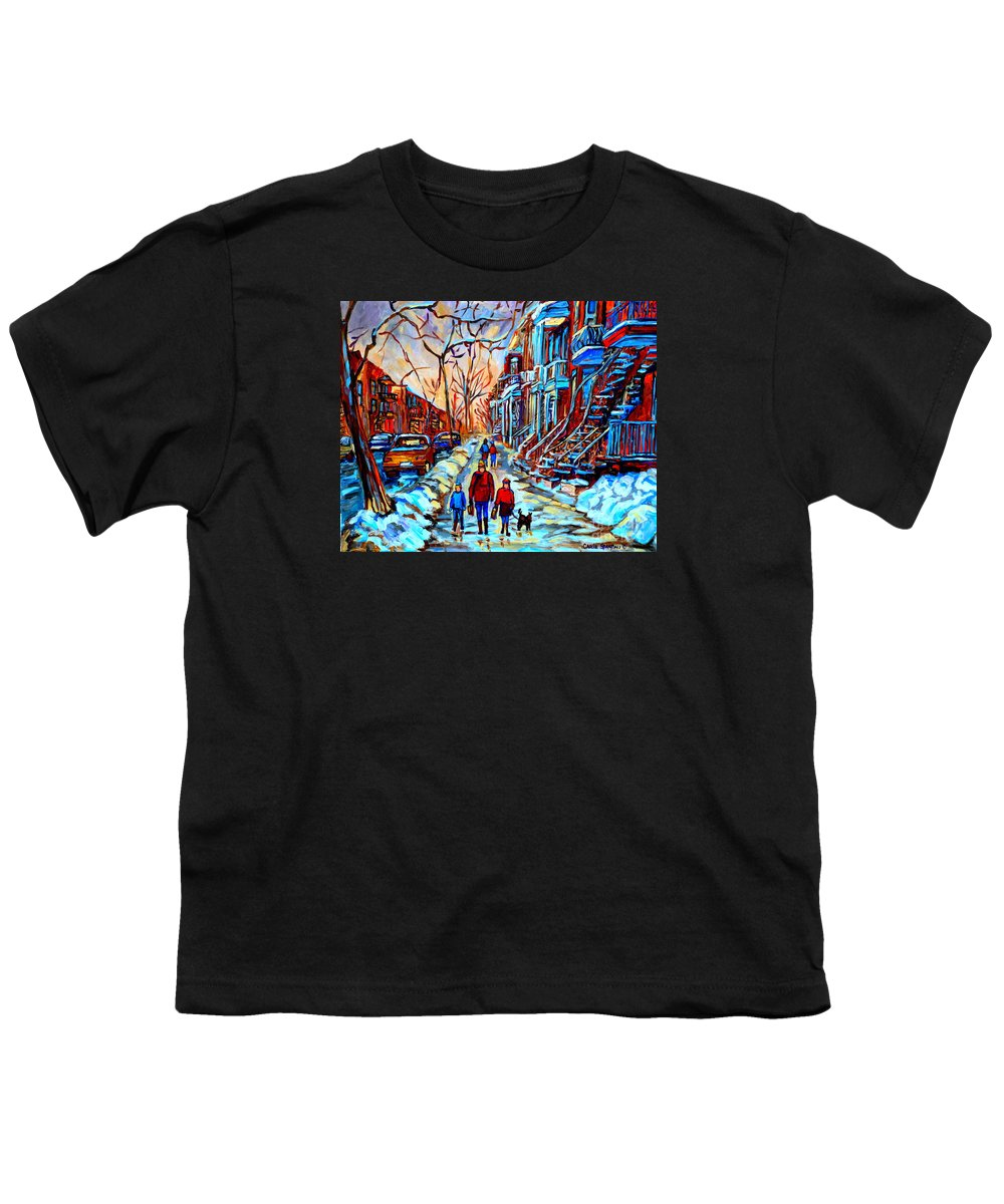 Montreal Youth T-Shirt featuring the painting Streets Of Montreal by Carole Spandau
