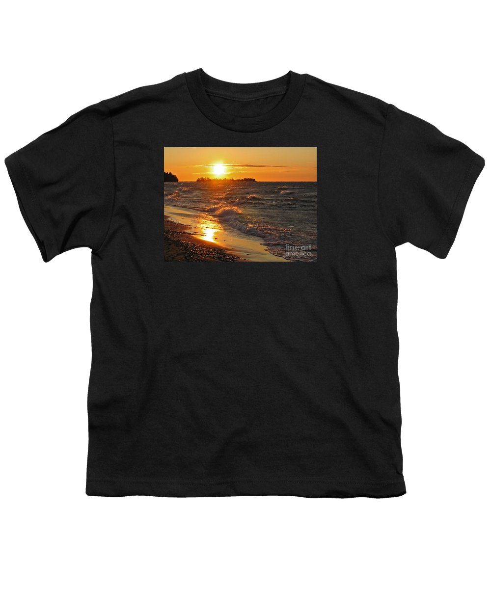 Sunset Youth T-Shirt featuring the photograph Superior Sunset by Ann Horn