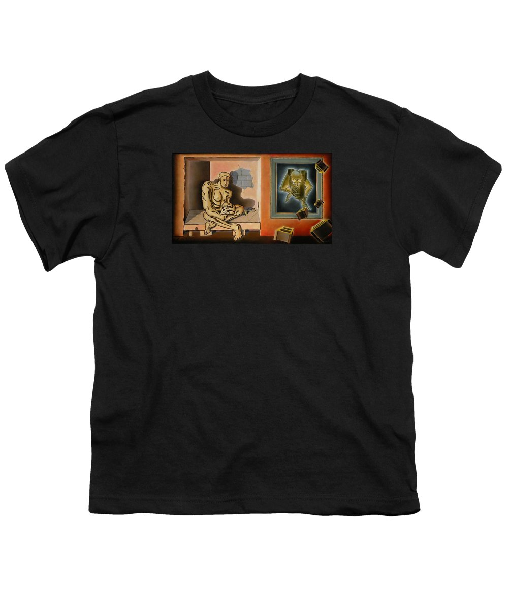 Surreal Youth T-Shirt featuring the painting Surreal Portents Of Genius by Dave Martsolf