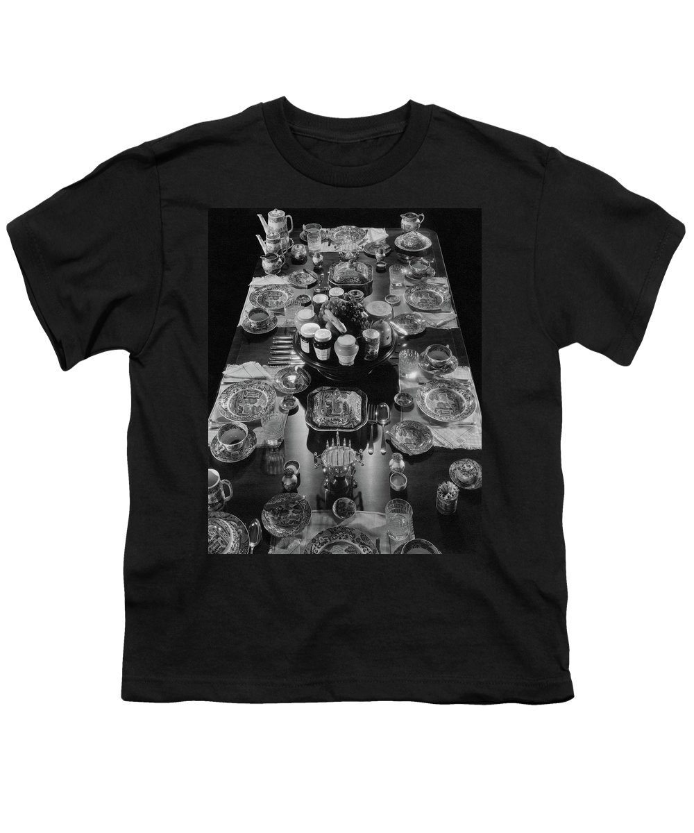 Interior Youth T-Shirt featuring the photograph Table Settings On Dining Table by The 3