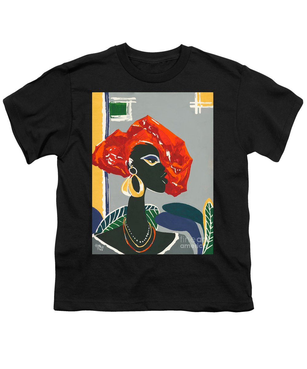 Black Youth T-Shirt featuring the painting The Ambassador by Elisabeta Hermann