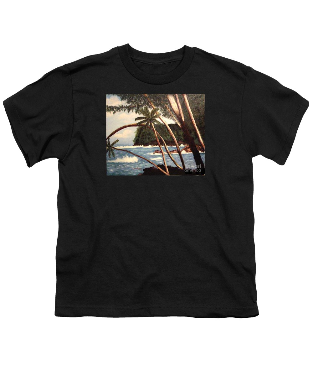 Hawaii Youth T-Shirt featuring the painting The Big Island by Laurie Morgan