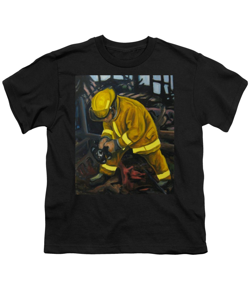The Compulsion Towards Heroism Youth T-Shirt featuring the painting The Compulsion Towards Heroism by John Malone