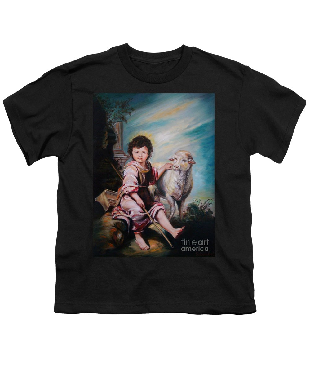 Classic Art Youth T-Shirt featuring the painting The Good Shepherd by Silvana Abel