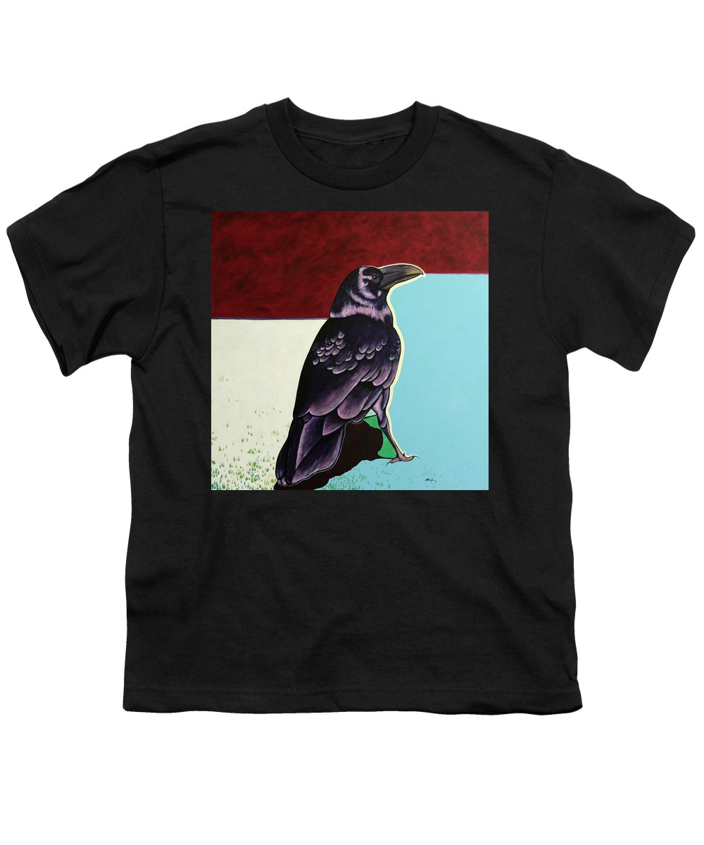 Wildlife Youth T-Shirt featuring the painting The Gossip - Raven by Joe Triano