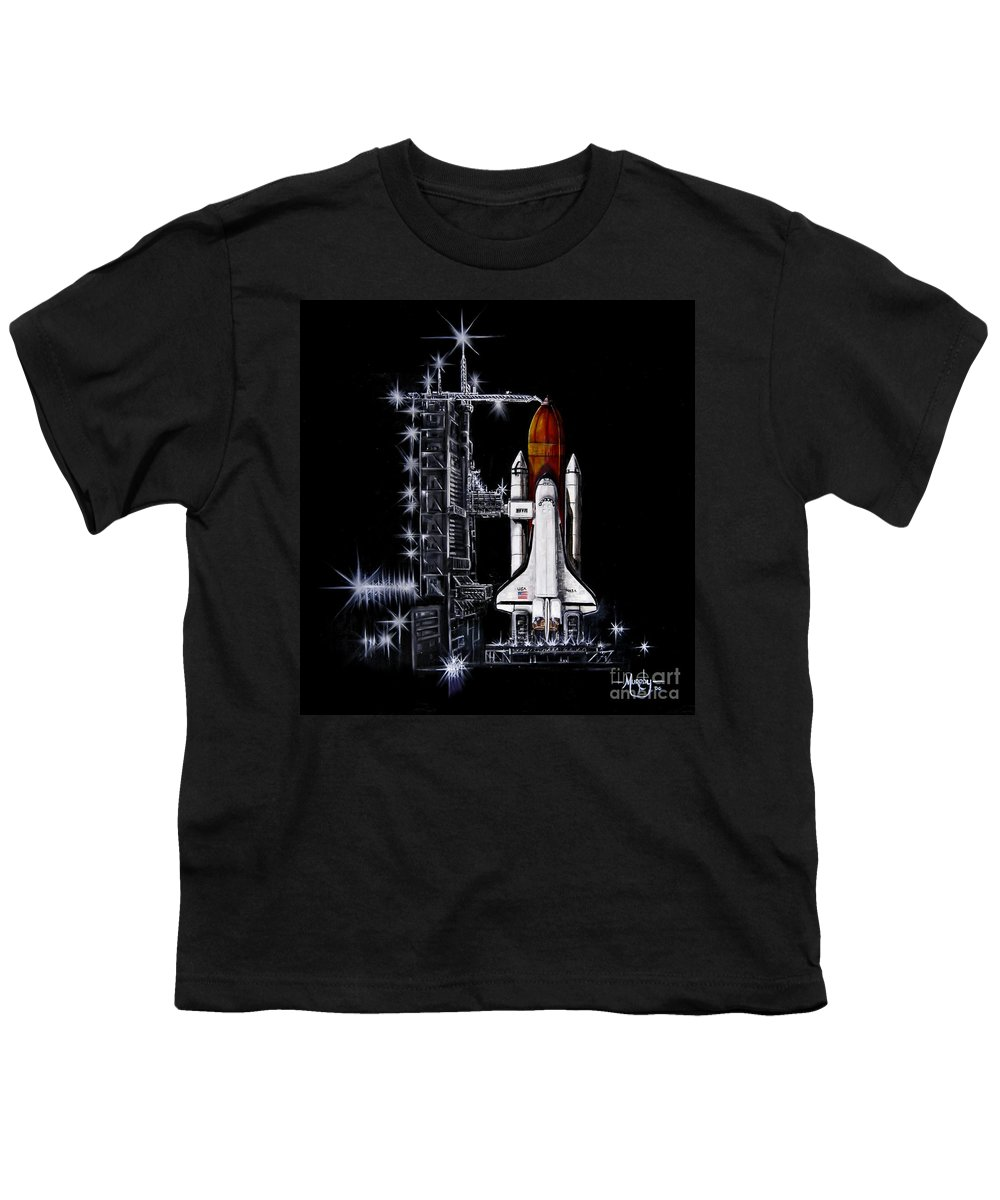 Shuttle Youth T-Shirt featuring the painting The Night Before by Murphy Elliott