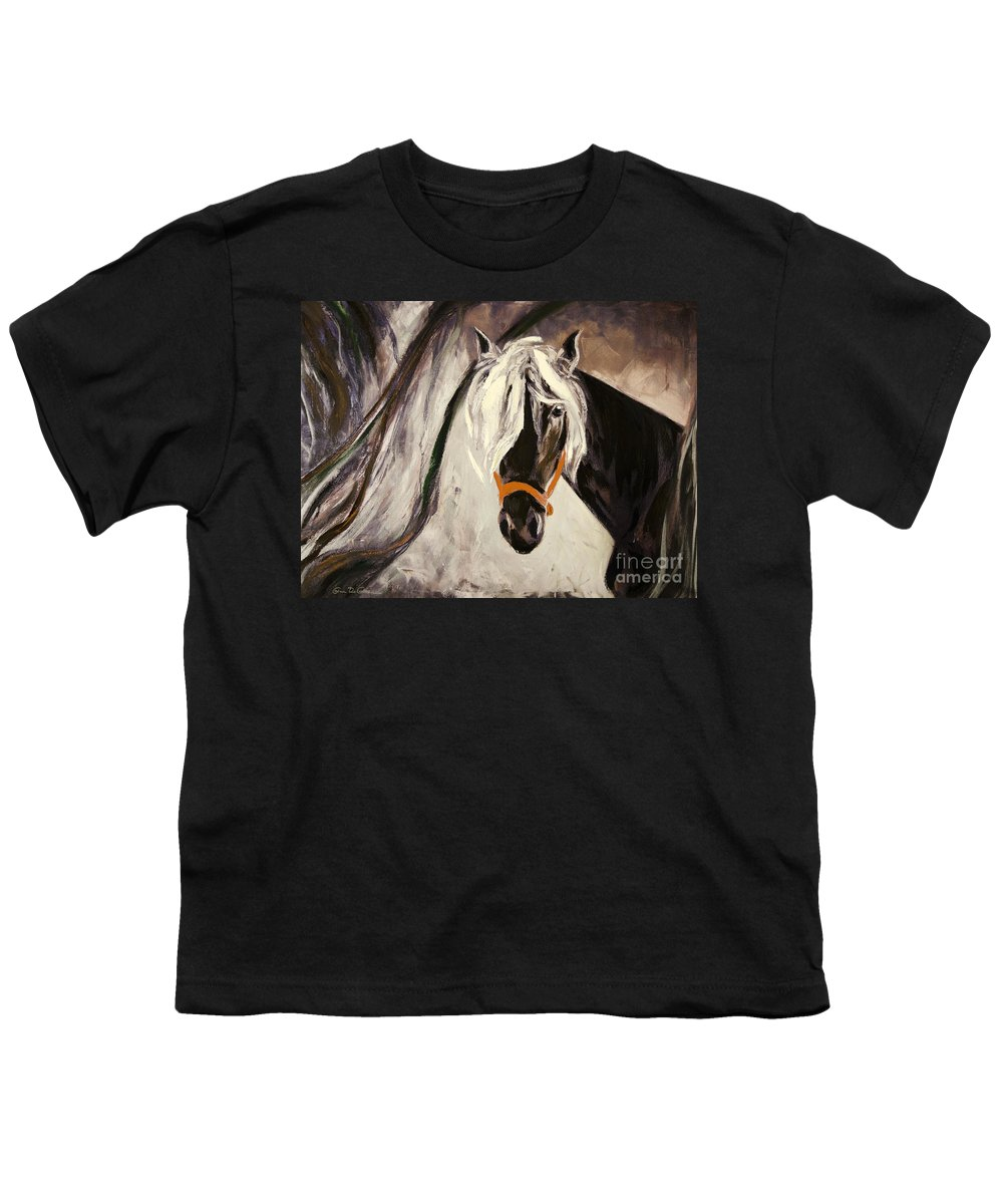 Horses Youth T-Shirt featuring the painting The Performer by Gina De Gorna