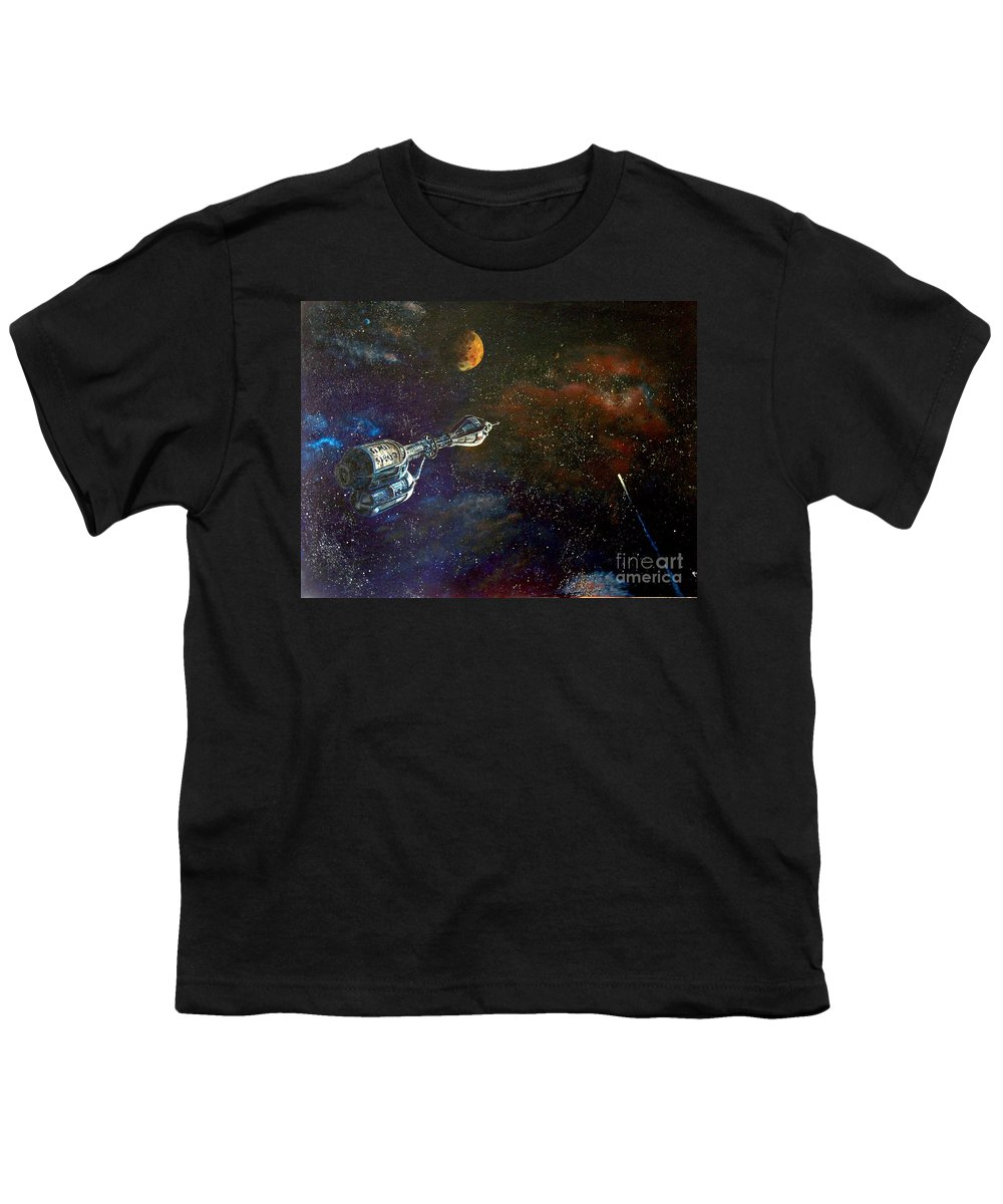 Vista Horizon Youth T-Shirt featuring the painting The Search For Earth by Murphy Elliott
