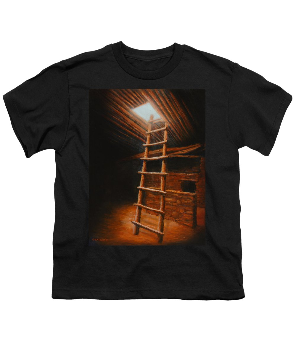 Kiva Youth T-Shirt featuring the painting The Second World by Jerry McElroy