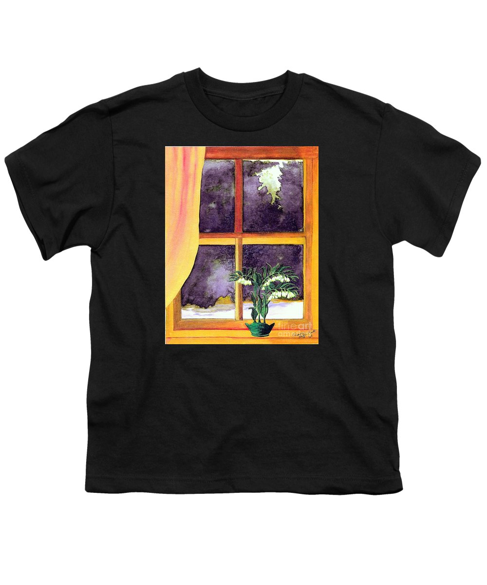 Fine Art Youth T-Shirt featuring the painting Through The Window by Patricia Griffin Brett