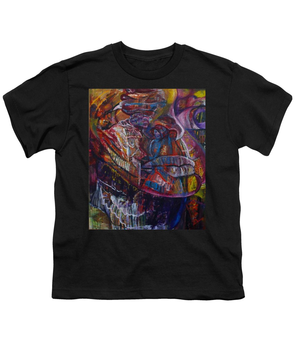 African Women Youth T-Shirt featuring the painting Tikor Woman by Peggy Blood