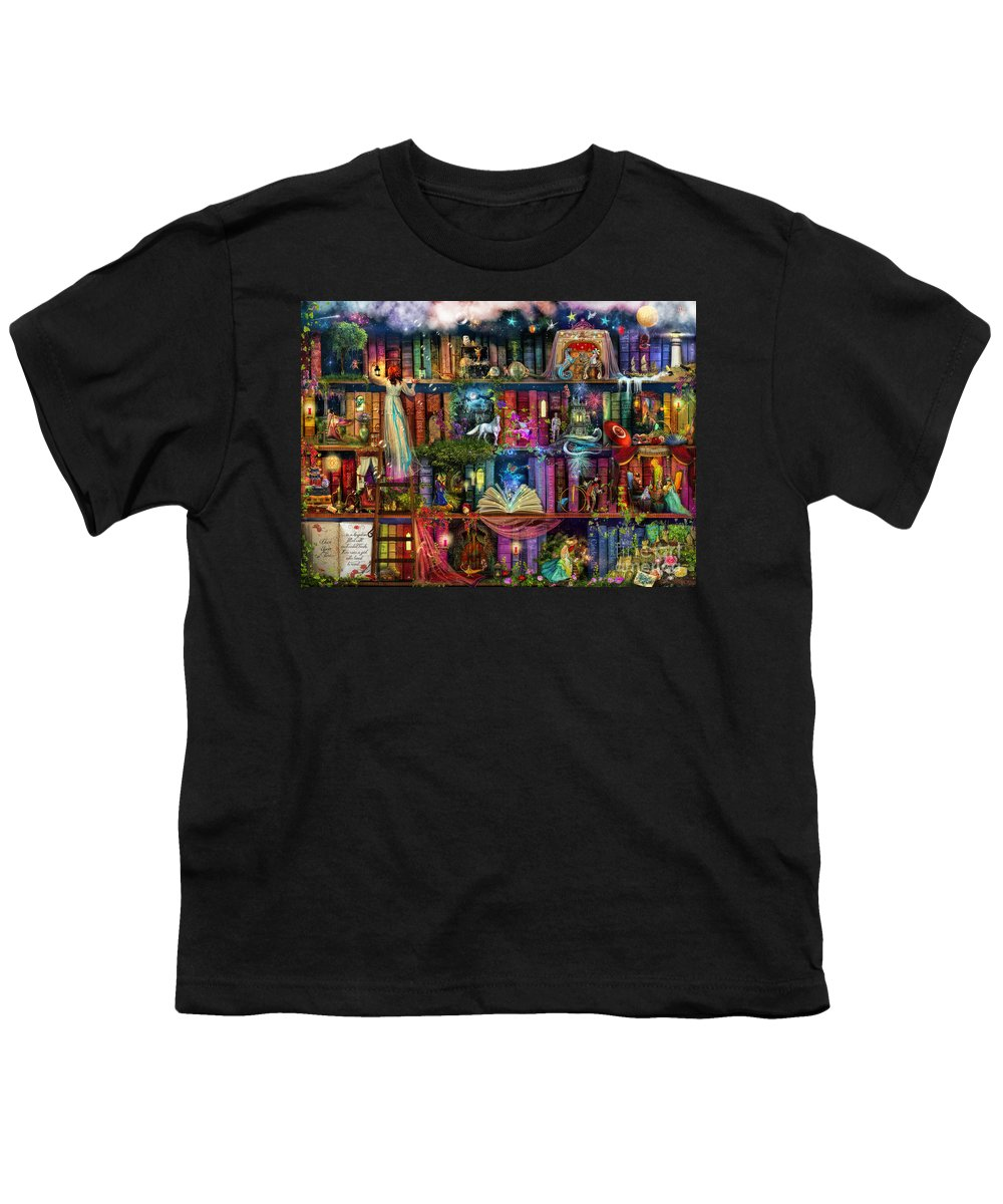Fairytale Youth T-Shirt featuring the digital art Fairytale Treasure Hunt Book Shelf by MGL Meiklejohn Graphics Licensing
