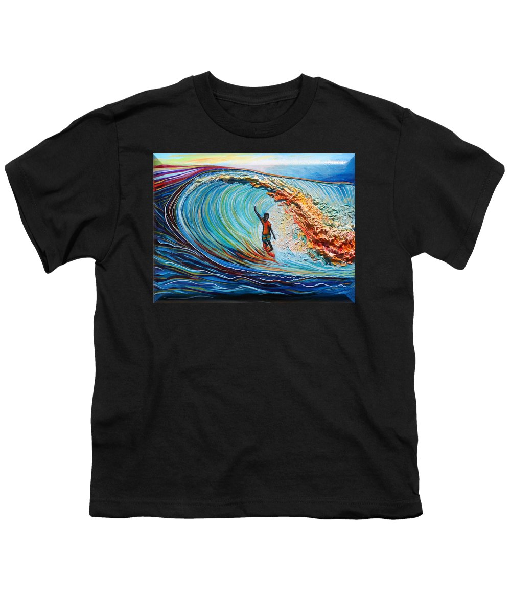 Ocean Youth T-Shirt featuring the painting Wave Surfer by Kate Fortin