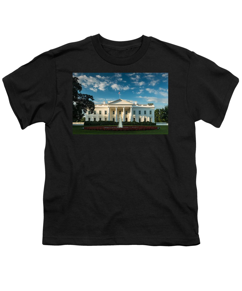 White Youth T-Shirt featuring the photograph White House Sunrise by Steve Gadomski