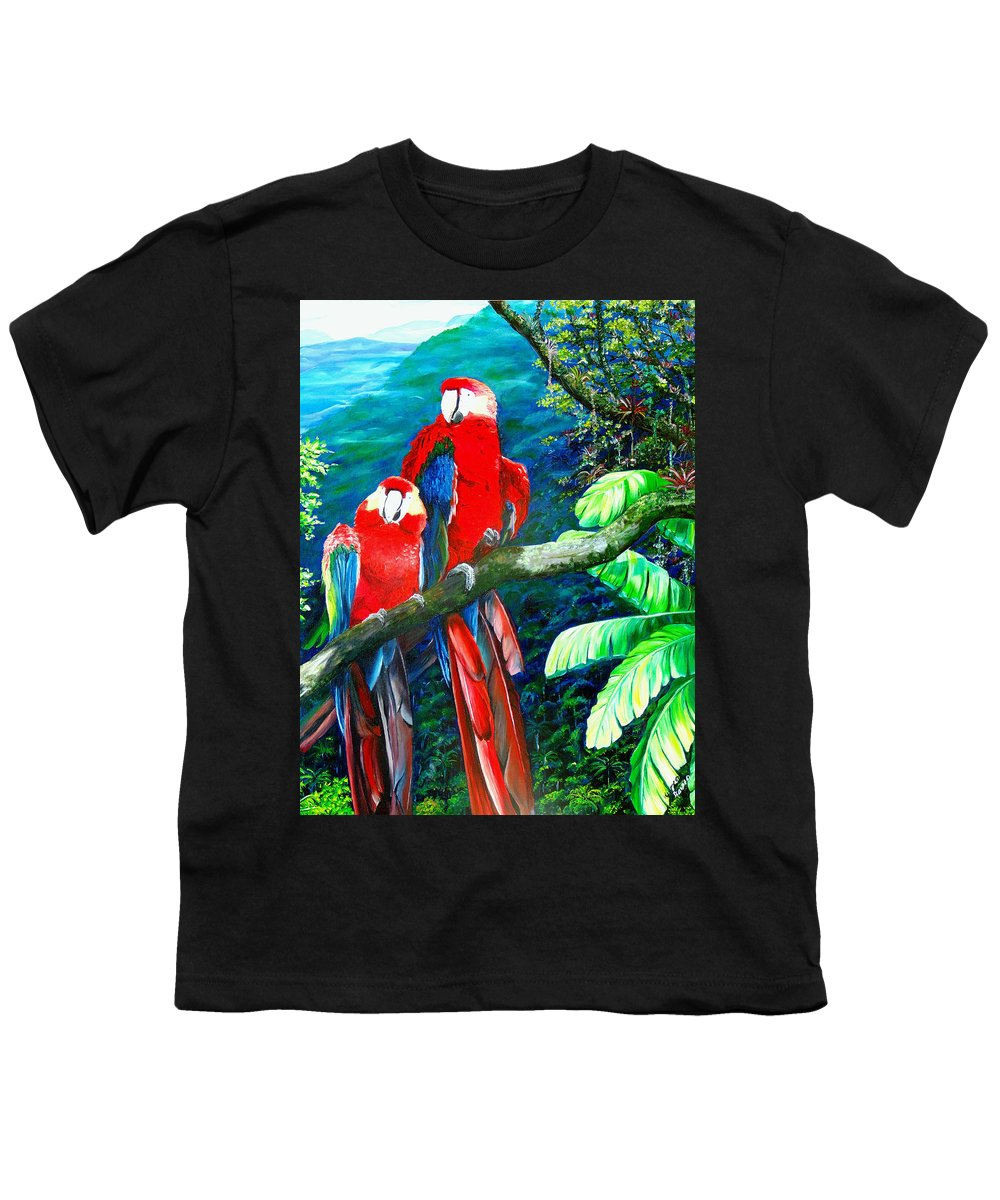 Caribbean Painting Green Wing Macaws Red Mountains Birds Trinidad And Tobago Birds Parrots Macaw Paintings Greeting Card  Youth T-Shirt featuring the painting Who Me  by Karin Dawn Kelshall- Best
