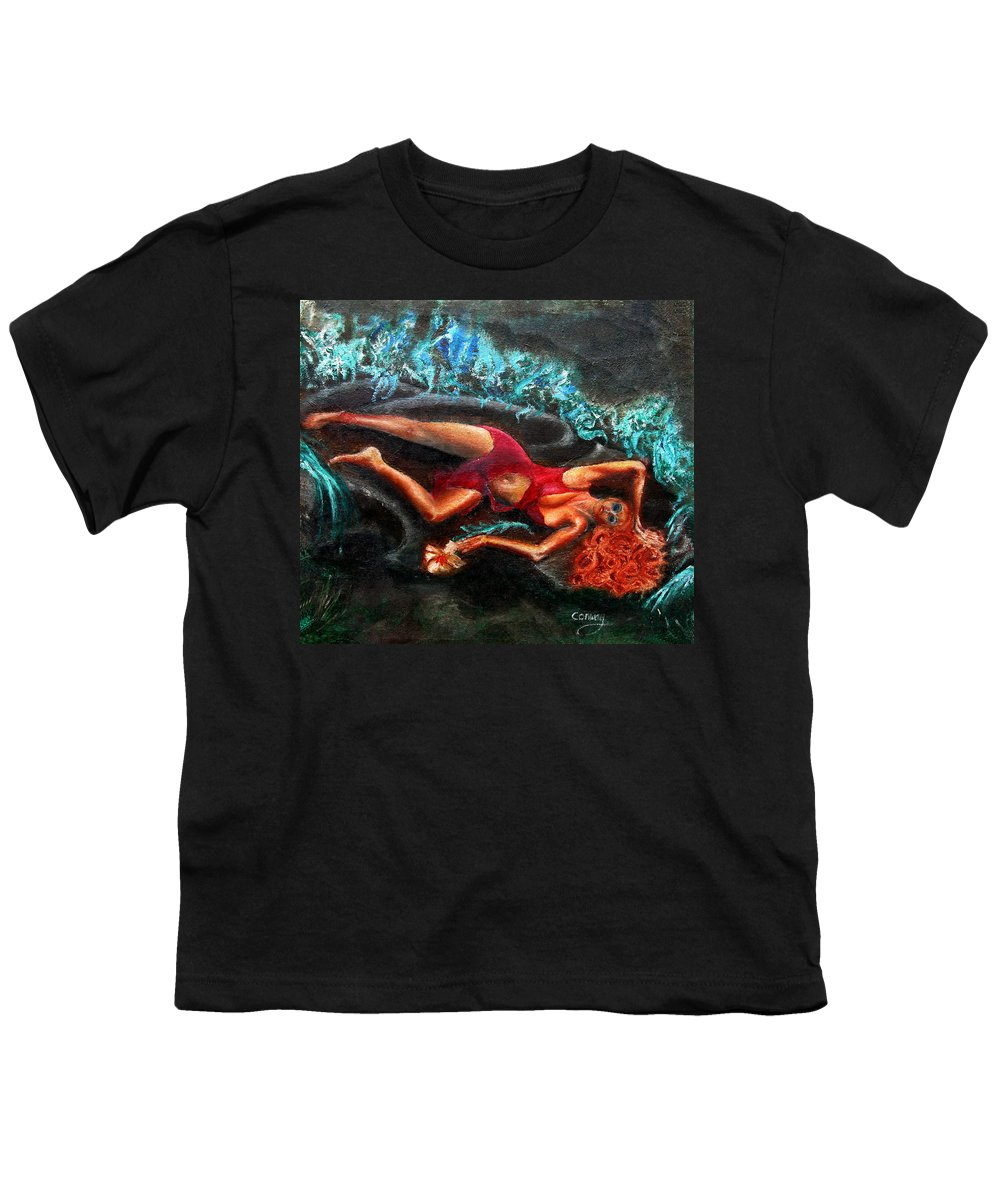 Females Youth T-Shirt featuring the painting Woman In A Red Dress Holding A Flower by Tom Conway