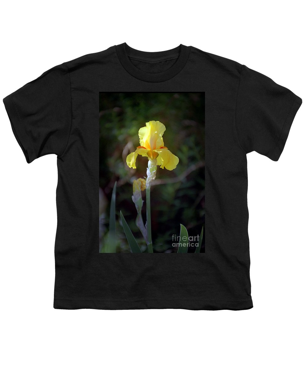 Iris Youth T-Shirt featuring the photograph Yellow Iris by Kathy McClure