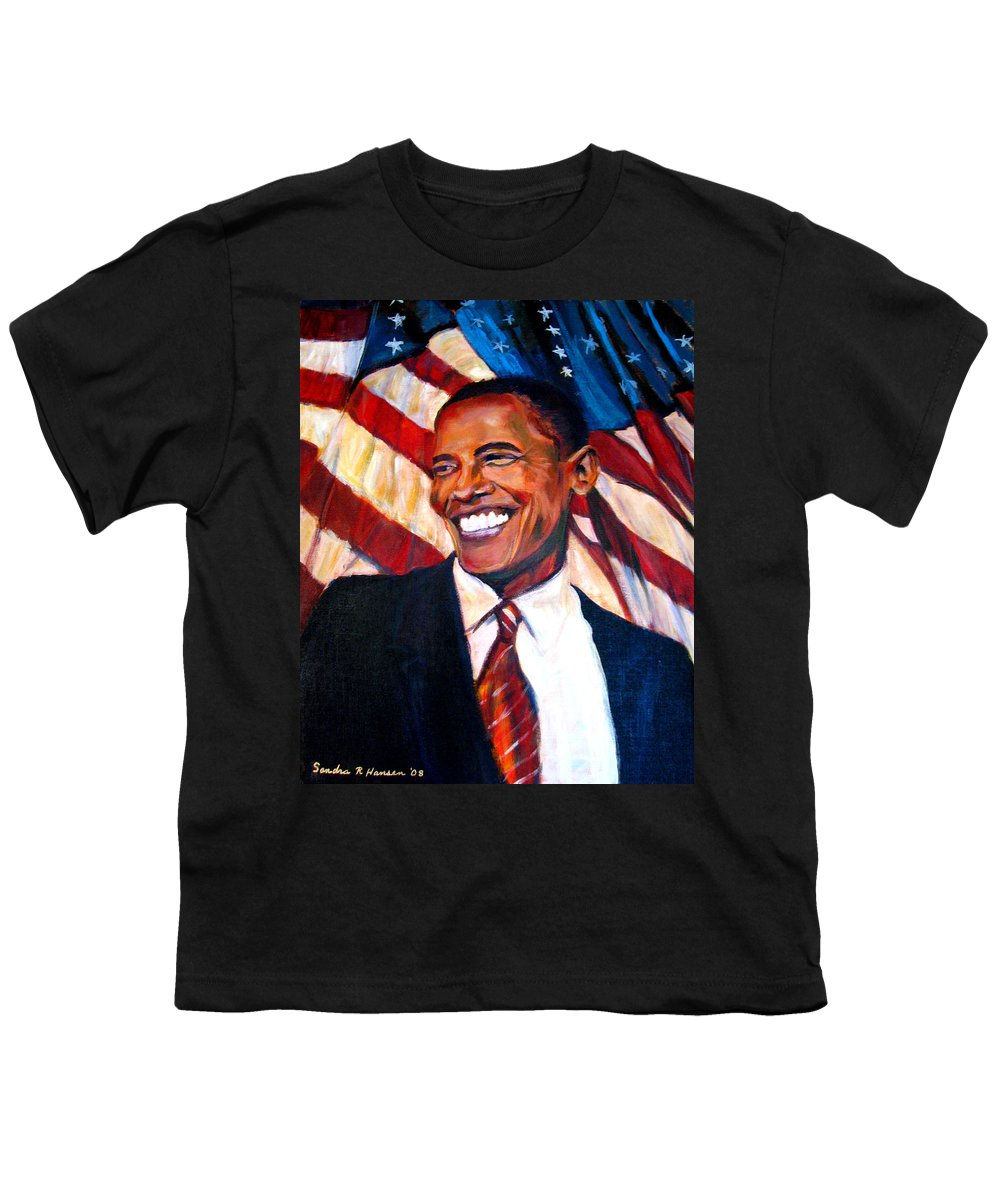 Barack Youth T-Shirt featuring the painting Yes We Can by Art Nomad Sandra Hansen