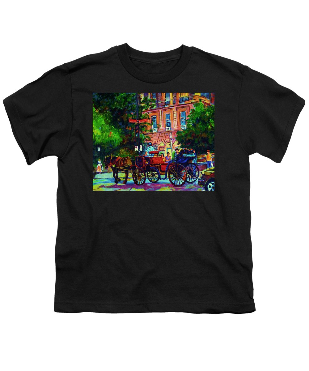 Rue Notre Dame Youth T-Shirt featuring the painting Horsedrawn Carriage by Carole Spandau