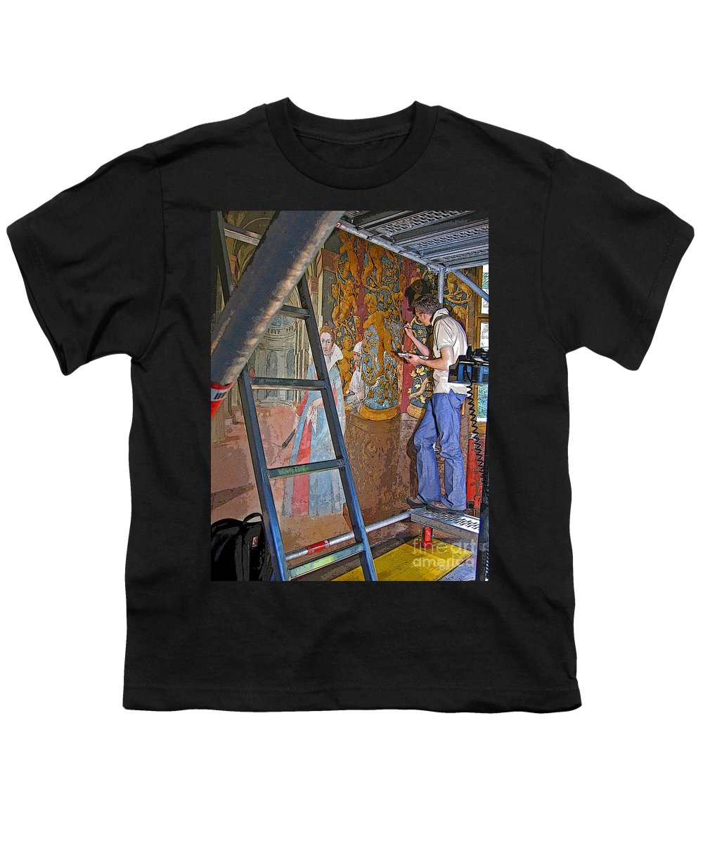Art Youth T-Shirt featuring the photograph Restoring Art by Ann Horn