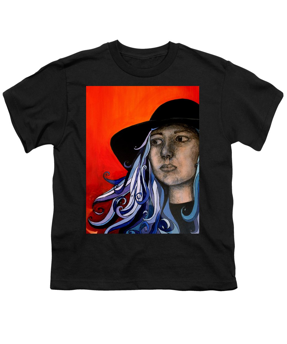 Portrait Youth T-Shirt featuring the painting Self Portrait by Kate Fortin