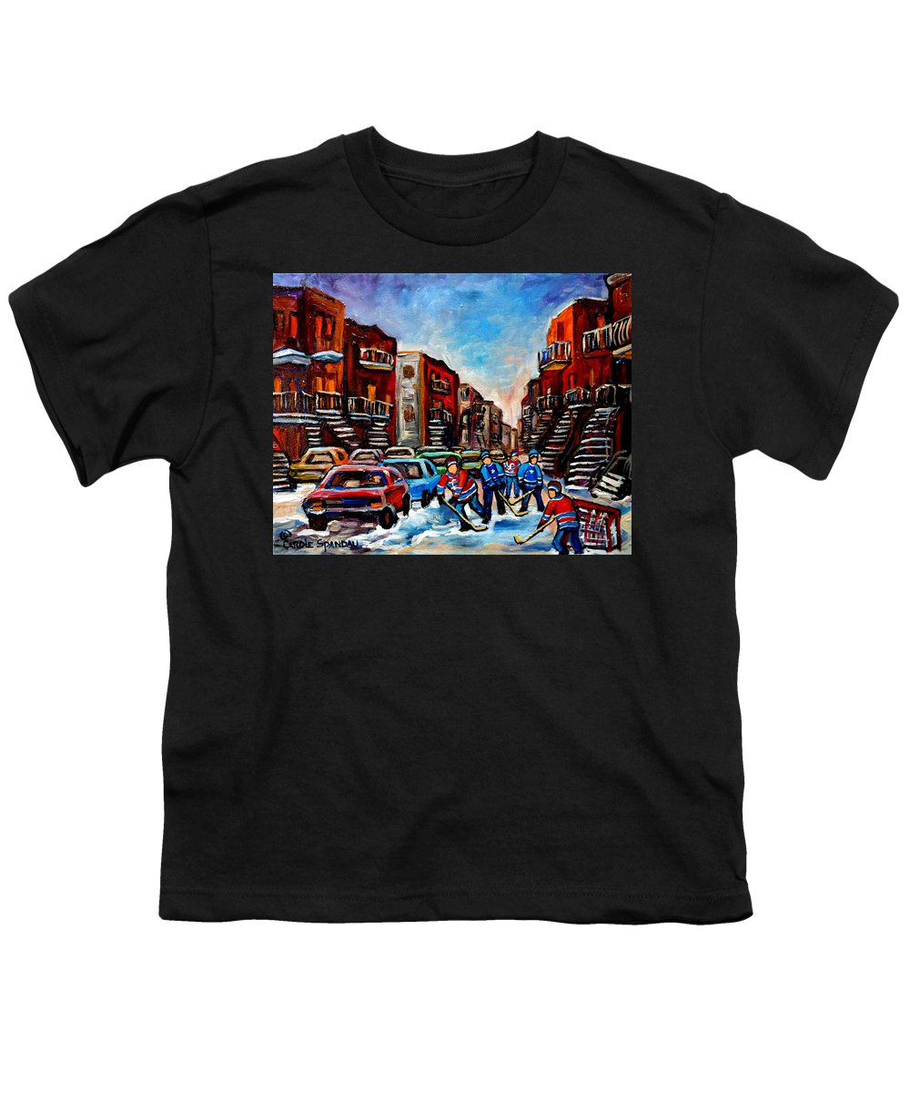 Montreal Youth T-Shirt featuring the painting Late Afternoon Street Hockey by Carole Spandau