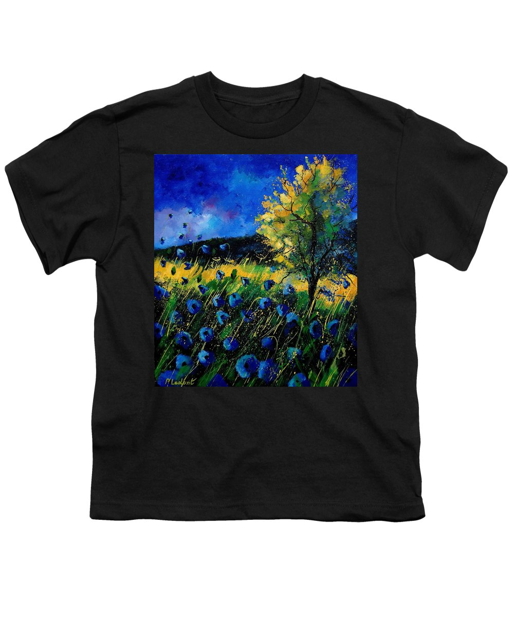 Poppies Youth T-Shirt featuring the painting Blue Poppies by Pol Ledent