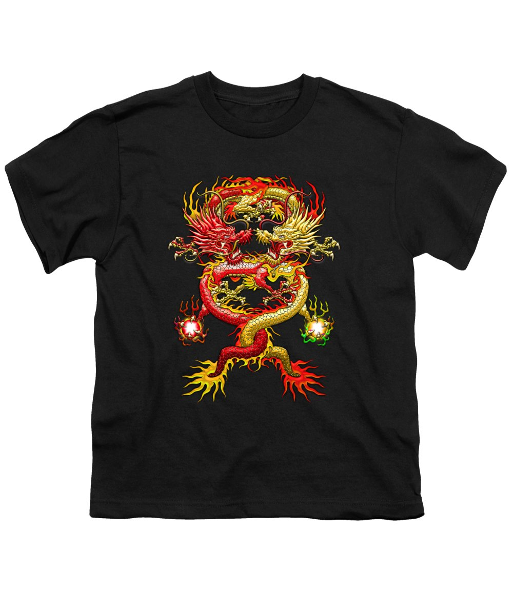 �treasures Of Asia� Collection By Serge Averbukh Youth T-Shirt featuring the photograph Brotherhood Of The Snake - The Red And The Yellow Dragons by Serge Averbukh