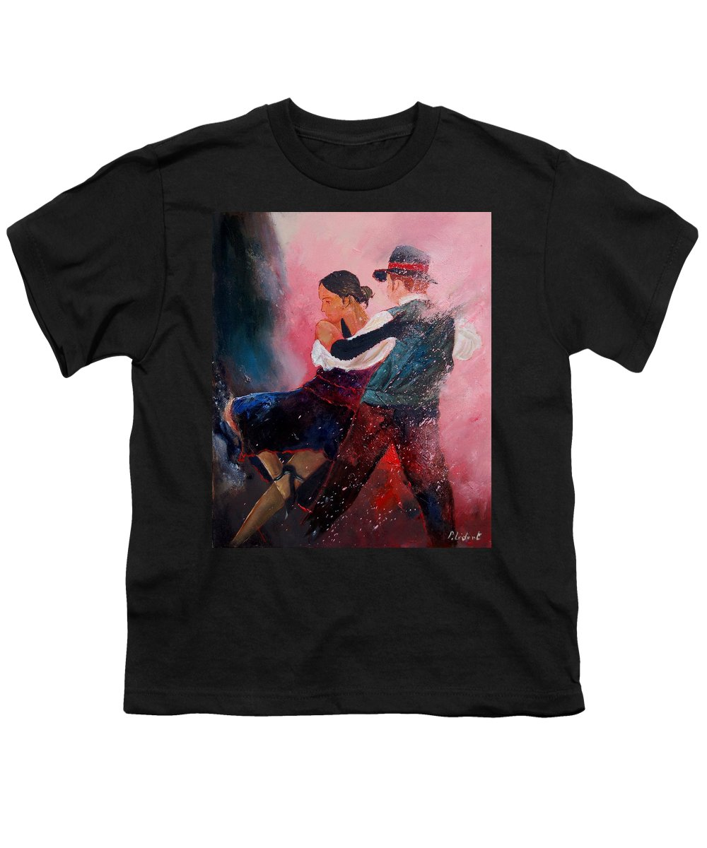 Music Youth T-Shirt featuring the painting Dancing Tango by Pol Ledent