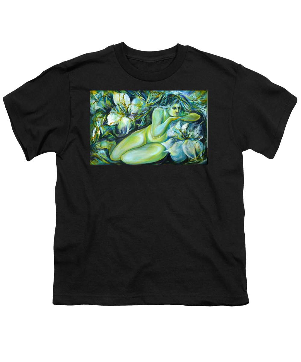 Fantasy Art Youth T-Shirt featuring the painting Dreaming Flower by Anna Duyunova