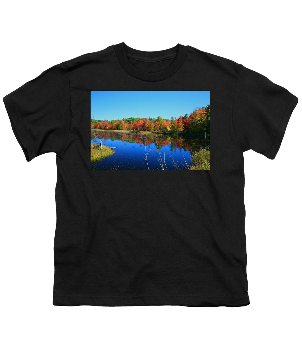 Fall Youth T-Shirt featuring the photograph Fall Fire Works by Robert Pearson