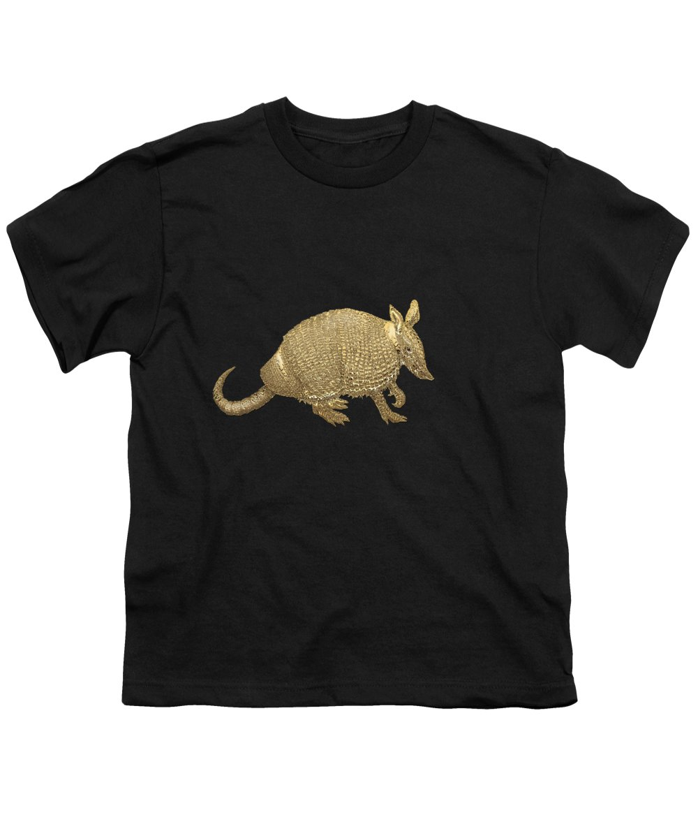 'beasts Creatures And Critters' Collection By Serge Averbukh Youth T-Shirt featuring the photograph Gold Armadillo On Black Canvas by Serge Averbukh