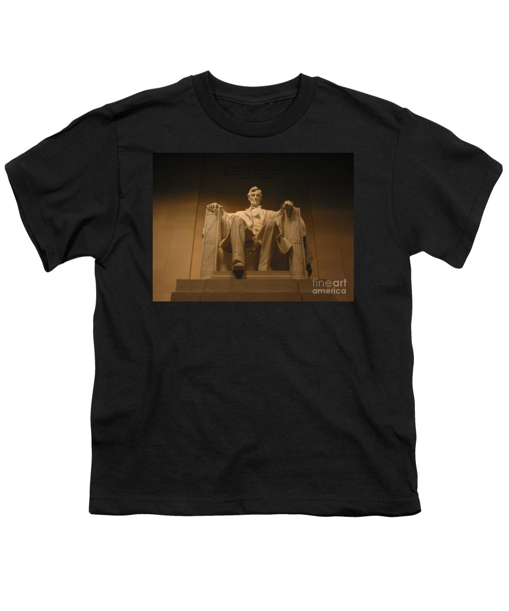 Abraham Lincoln Youth T-Shirt featuring the painting Lincoln Memorial by Brian McDunn