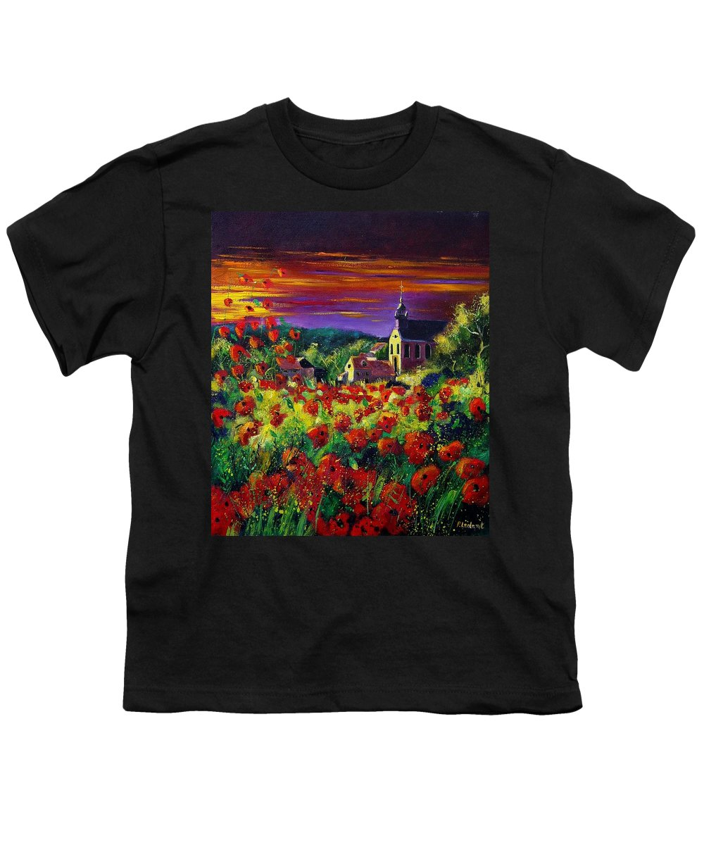 Flowers Youth T-Shirt featuring the painting Poppies In Foy by Pol Ledent
