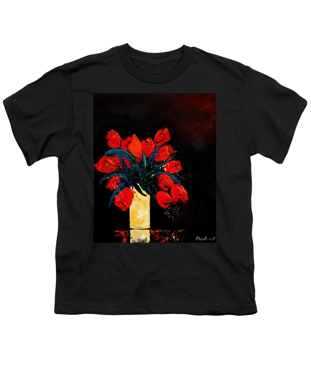 Flowers Youth T-Shirt featuring the painting Red Tulips by Pol Ledent