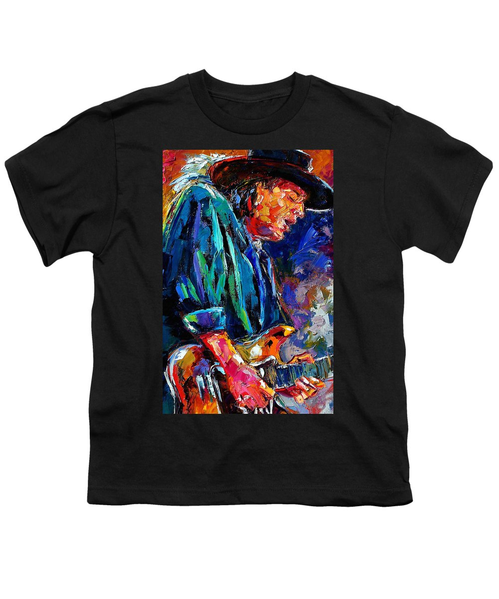 Stevie Ray Vaughan Youth T-Shirt featuring the painting Stevie Ray Vaughan by Debra Hurd