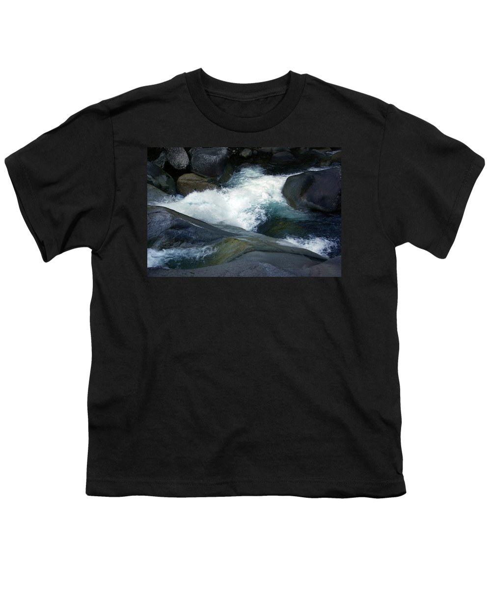 Fineart Youth T-Shirt featuring the photograph Tropical Flowing Waters Josephine Falls by Kerryn Madsen- Pietsch